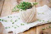 Bundle of fresh thyme on sackcloth — Stock Photo