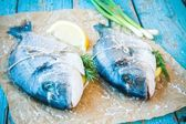 Two raw dorado fishes with lemon, green onions — Stock Photo