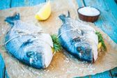 Two raw dorada fishes with lemon, dill and sea salt — Stock Photo