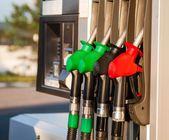 Fuel pumps at petrol station — Stock Photo