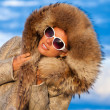 Winter beauty in fur coat — Stock Photo