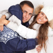 Winter fashion beautiful man and woman — Stock Photo