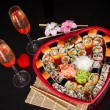 Delicious sushi. Big sushi set for few persons. — Foto de Stock
