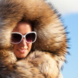 Beauty Fashion Model Girl in Fur Coat. — Stock Photo