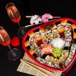 Delicious sushi. Big sushi set for few persons. — Stock Photo