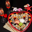 Delicious sushi. Big sushi set for few persons. — Stock Photo #39849987