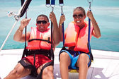 Parasailing together in summer — Stock Photo