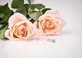 Beautiful diamond ring with pink roses — Stock Photo