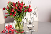 Bunch of tulips on a table — Stock Photo
