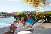 Honeymoon couple romantic in love — Foto Stock