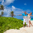 Picture of happy loving couple having fun on the beach. — Stock Photo #44058337