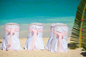 Romantic wedding chairs — Stock Photo