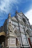 Italy, Florence, Santa Croce church and statue of Dante Alighieri — Stock Photo