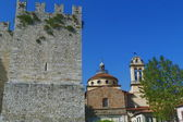 Basilica of Santa Maria delle Carceri and Emperor Castle, Prato, Tuscany, Italy — Stock Photo