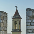 Bell tower of St. Francis church from the Emperor castle, Prato, Tuscany, Italy — Stock Photo #34750499