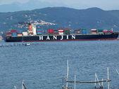 Ship in the bay of Portovenere, Liguria, Italy — Stock Photo