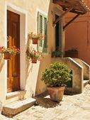 Thresholds in the little town of Poggio - Elba Island — Stock Photo