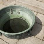 Ancient green metal pot — Stock Photo #32902183