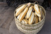 Baguette in basket for sell,Laos — Stockfoto