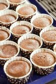 Baked chocolate cupcake in row on tray — Foto Stock