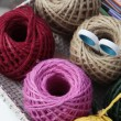 Colorful knitting balls on tray — Stock Photo #35641369