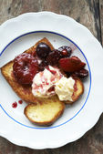 Poached prunes and cherries dessert — Photo