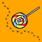 Ant and lollipop , uninterested concept — Stock Vector