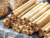 Glutinous rice roasted in bamboo joints — Stock Photo