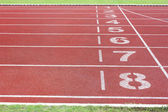 Athletics track in stadium — Stock Photo