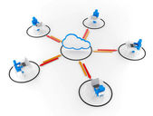 Human Group Work with Cloud NetWork. 3D Image — Stock Photo