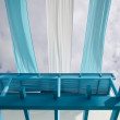 A blue balcony and Azure cloth — Stock Photo