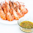 Boil Giant river prawn , shrim and Seafood sauce — Stock Photo