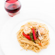 STIR FRIED SPICY SPAGHETTI WITH SEAFOOD — Stock Photo