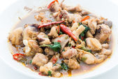 Stir Fried Chicken with Holy Basil , Thai Spicy Food — Stock Photo