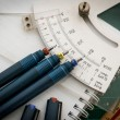 Cutting mats , Pen drawings , adjust angle tool , scale ruler , — Stock Photo