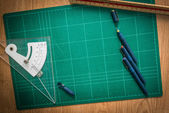 Cutting mats , Pen drawings , adjust angle tool , scale ruler o — Stok fotoğraf