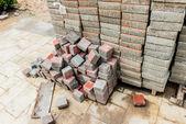 Stack av cement block — Stockfoto
