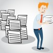 Overworked office manager. worker with heap of paperwork — Imagen vectorial