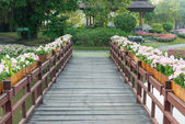 Wood bridge and flower — Stock Photo