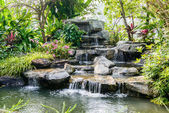 Water fall in garden — Stock Photo