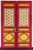 Wooden door with chinese traditional style pattern — Stock Photo