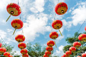 Chinese Paper Lanterns against a Blue Sky — Photo