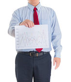 Businessman hands showing white statistics board — Stock Photo