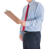 Businessman hands showing white blank board — Stock Photo