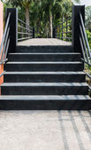 Steel stairs with pathway on skywalk — Stock Photo