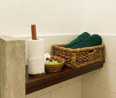 Wooden Shelves in Bathroom  — 图库照片