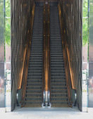 Pair of outdoor modern escalators — Stock Photo