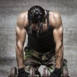 Tired muscle athlete — Stock Photo