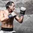 Muscular boxer man ready to punch — Stock Photo