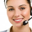Happy smiling female support phone operator — Stockfoto